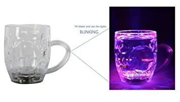 Electrobot Led Glass Cup Inductive Rainbow Color Changing Flashing Light Up Celebration Decoration For Your Home, And Also Gifting Purpose Glassware & Drinkware at amazon