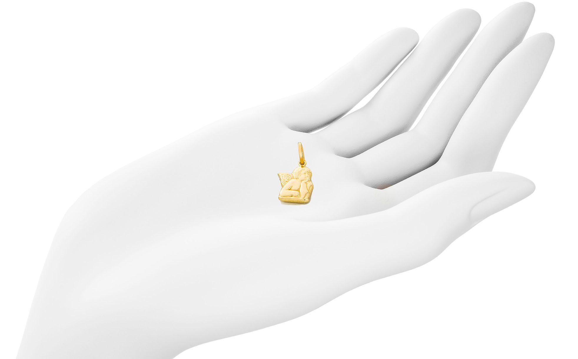 Solid Gold Angel Charm of Raphael Angel Cherub (Hollow) 14K Yellow Gold 15.1mm Tall by 12.7mm Wide | 1.2g by Trusted Jewelers (Image #2)