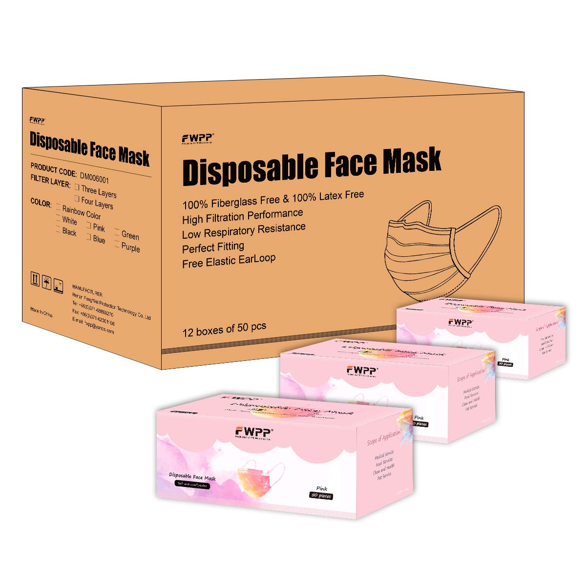 FWPP 600 pcs Breathable Earloop Disposable Face Masks Surgical Medical Economy Plus Romantic Pink by FWPP