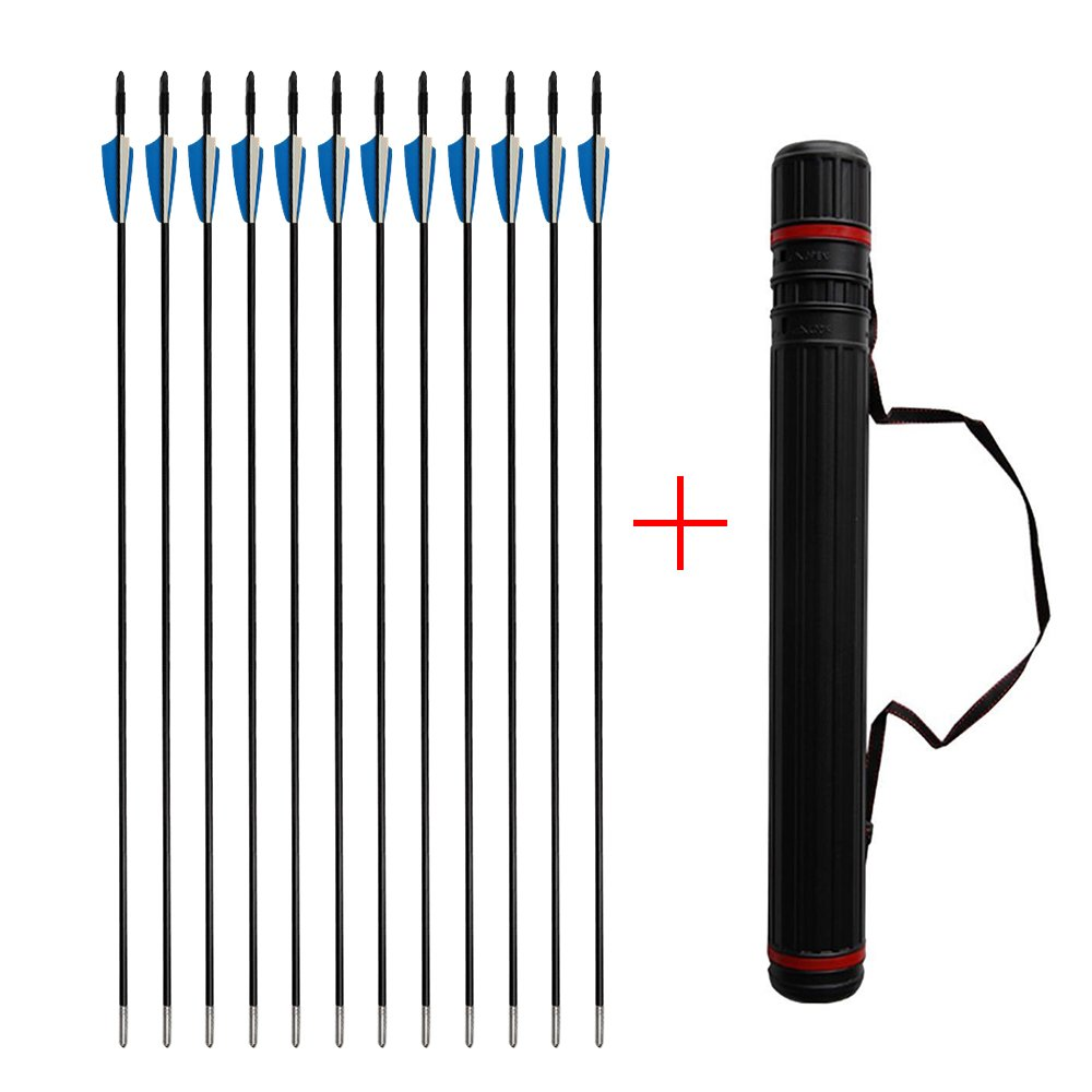 Boshen 12 Pack 31.5'' Archery Fiberglass Arrows Targeting Practice Arrows and Stretch Arrow Quiver Case for Recurve Bow