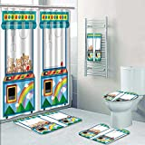 Nalahome 5-piece Bathroom Set-Includes Shower Curtain Liner,Arcade game machine with dolls Decorate the bathroom(Small)