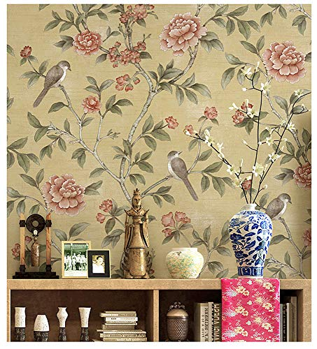 Blooming Wall Vintage Fresh Peony Birds Floral Wallpaper Wall Mural for Livingroom Bedroom Kitchen Bathroom, 20.8 In32.8 Ft=57 Sq.ft,Multicolor (Yellow)