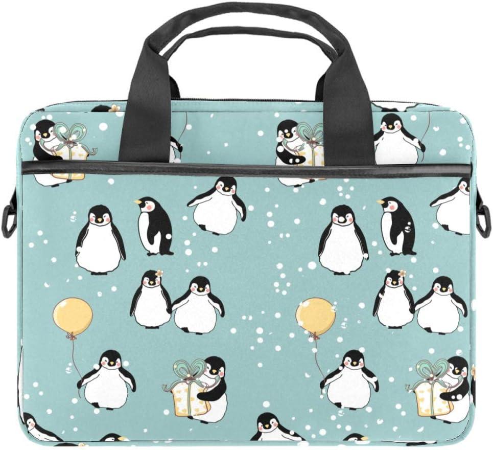 TIZORAX - Funda para portátil de invierno con asa (15-15,4 pulgadas), diseño de pingüinos de nieve