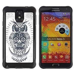 Suave TPU GEL Carcasa Funda Silicona Blando Estuche Caso de protección (para) Samsung Note 3 / CECELL Phone case / / Skull Owl Grey Pencil White Native /