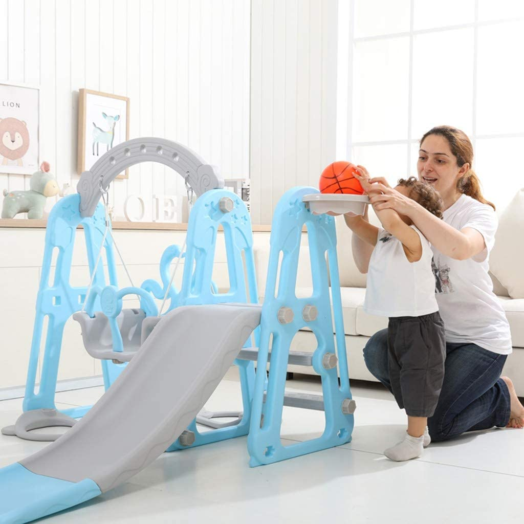 boy /& girl /&children Mountaineering and Swing Set for Both Indoors /& Backyard blue 【UK Stock】3 in 1 Toddler child Swing with Easy Climb Stairs,Climber Slide with Playset Basketball Hoop