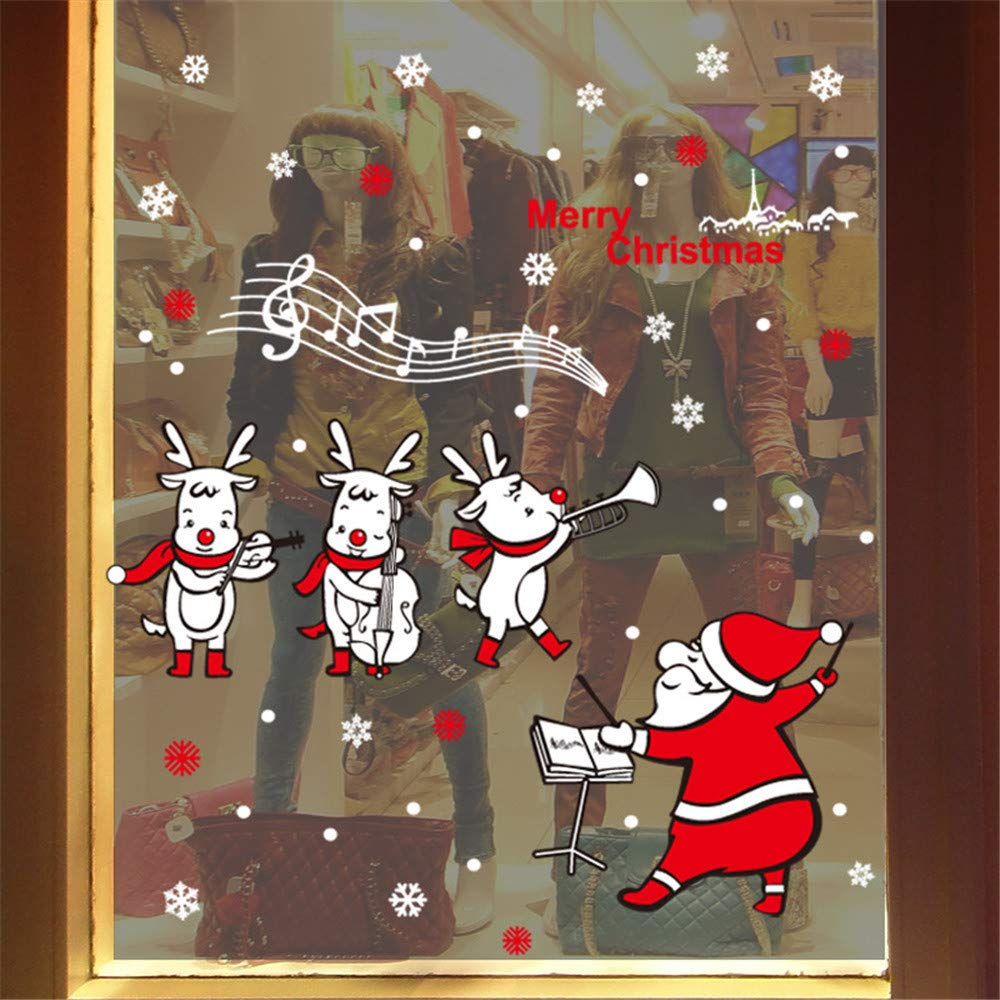 Christmas Merry Christmas Santa Claus Music Window Clings Decorations Xmas Party Stickers Decal Ornaments
