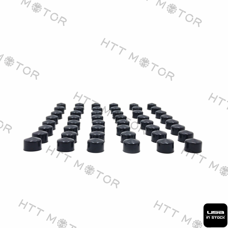 HTTMT MT247-017 48 Piece Black Caps Cover Kit Compatible with 84-03 Harley Sportster Engine /& Misc Bolt Set