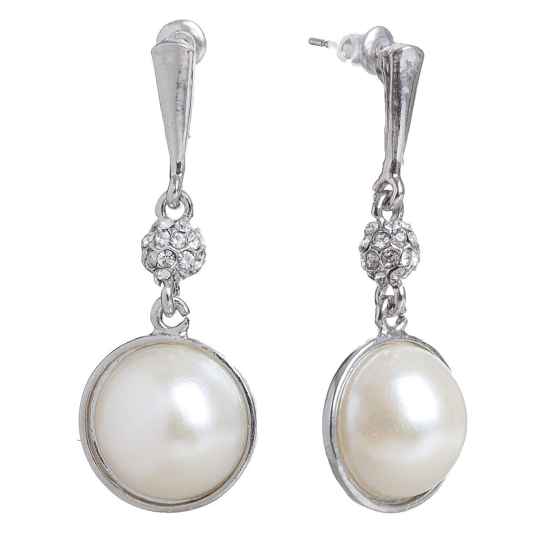 Drop Earrings Crystal Sphere Faux Pearl Pendants Post Studs Pierced Ear Dangles