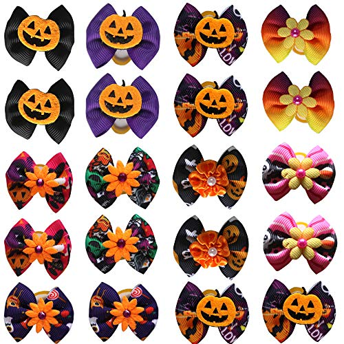 Masue Pets 40pcs/Pack Dog Hair Bows Pumpkin with Rubber Bands Thanksgiving Bows Bowknot Fall Autumn Dog Bows Dog Topknot Bows Pet Grooming -