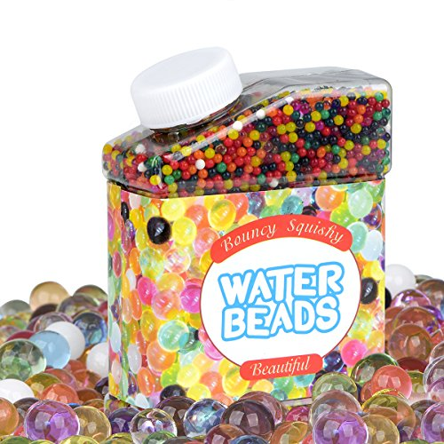 Larnaca【Upgrade Version 10oz Water Beads Rainbow Mix Over 20,000 Beads, Growing Gel Balls, Jelly Beads for Kids, Tactile Sensory Toys, Plant, Vases, Wedding and Home Decoration(Soaking in Wa1-1.18in