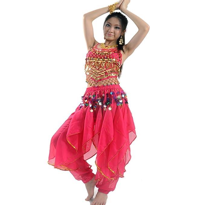fa801fd8f48a Best Dance Women's Belly Dance Costume Set Top & Tribal Gold Wavy Harem  Pants Skirt Black: Amazon.co.uk: Toys & Games