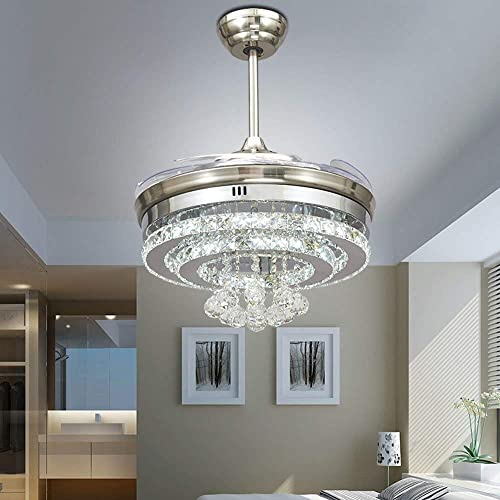 Lighting Groups 42 Inch Crystal Invisible Reversible Ceiling Fan Chandelier