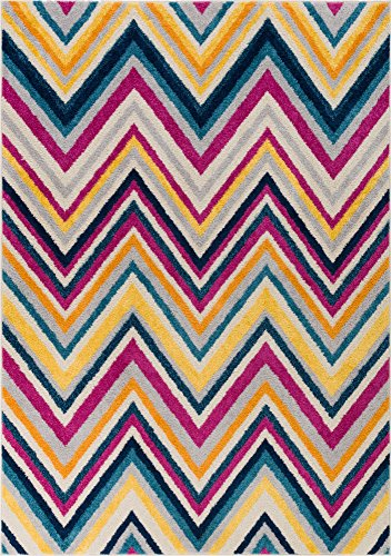 Well Woven Candice Modern Geometric Stripes Bright Chevron Fuchsia Purple Blue Yellow Orange Lines 5x7 (5' x 7') Area Rug -