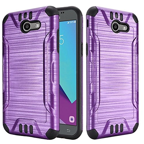 FastSun Combat Hybrid Case Phone Cover for Samsung J3 Emerge J3 2017 SM-J327P SM-J327A (Purple-Black)