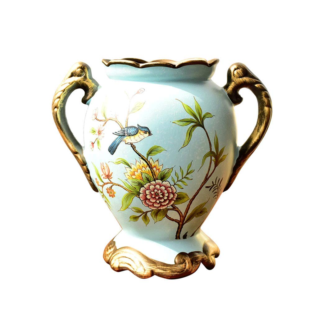 レトロな素朴なクリエイティブセラミック花瓶クリエイティブバイノーラルリビングルームフラワーアレンジメントフラワー LCSHAN (Color : Ceramic-Blue, Size : 19.5cm*10.5cm*10cm) B07T4MXTK3 Ceramic-Blue 19.5cm*10.5cm*10cm
