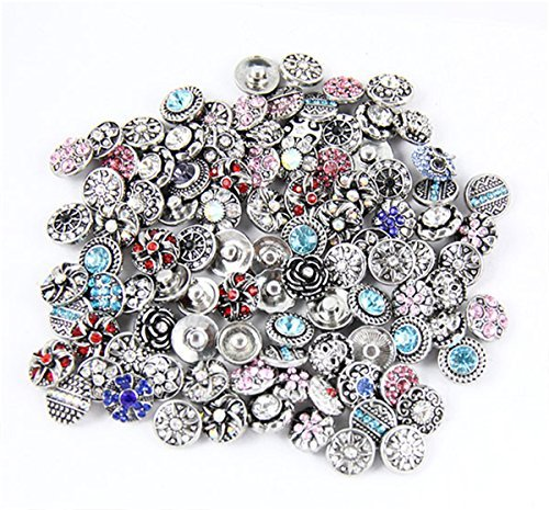Ginooars Rhinestones Snaps Petite Size Buttons 12mm for Snap Jewelry Making (50) ()