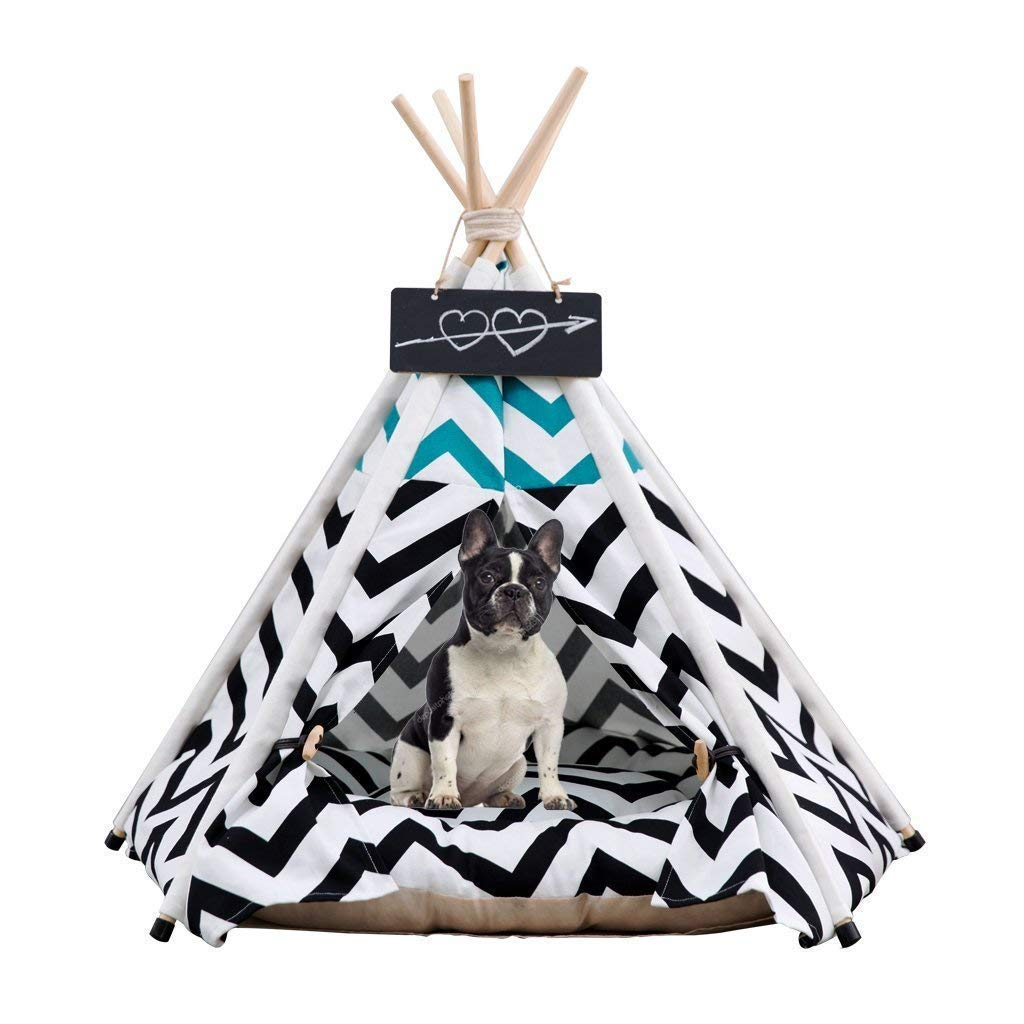 M KYCD pet bed Indoor and Outdoor Pet Teepee tent small dogs Utility Portable washable Comfortable Cotton Solid Cat House Pet House with Cushion and Wood Pole Four Seasons Usable, Black (Size   M)