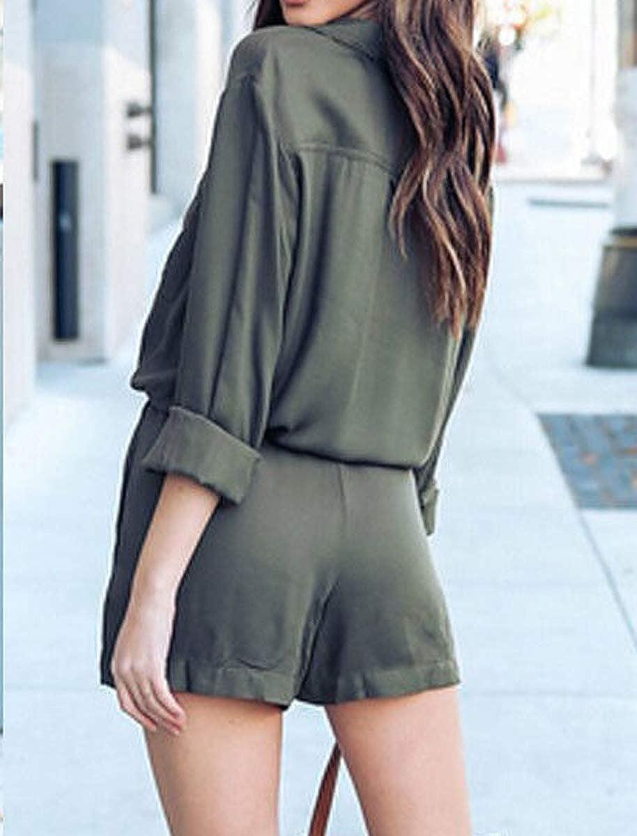 teetyesy Women Casual Long Sleeve Jumpsuit Chiffon Bodysuit with Belt Wide Leg Shorts