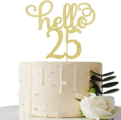 Amazon.com: Hello 25 – Decoración para tarta de 25 ...