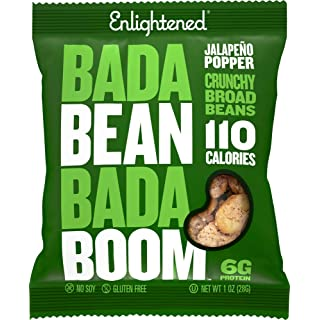 Enlightened Bada Bean Bada Boom Plant Protein Gluten Free Roasted Broad (Fava) Bean Snacks, Jalapeño Popper, 1 Ounce (24 Count)