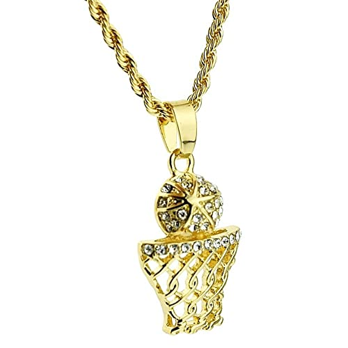 Basketball iced out micro pendant bling hip hop chain gold tone 24 basketball iced out micro pendant bling hip hop chain gold tone 24quot rope necklace aloadofball Images