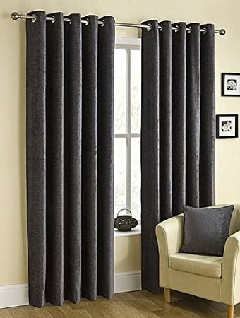Grey/Pewter Luxury Chenille Eyelet Ring Top Curtains in Extra Long ...