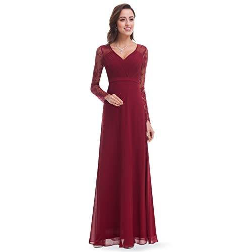 Ever Pretty Womens Elegant V-Neck Long Sleeve Evening Party Dress 08692