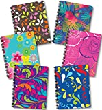 Spiral Notebook 70 Sheets 8' x 10.5' wirebound 1 Subject Spiral Notebooks, (6 Pack Spiral Notebook Wide Ruled) Floral by New Generation