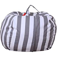 FY Home Organisation Bag Kids Stuffed Animal Plush Toy Storage Bean Bag Soft Pouch Stripe Multifunction Fabric Chair Large Capacity
