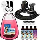Complete Belloccio Premium (Model T75) Professional Sunless HVLP Turbine Spray Tanning System; Simple Tan 4 Solution Variety Pack, Pink Tent, Cups, Accessories & Video Link
