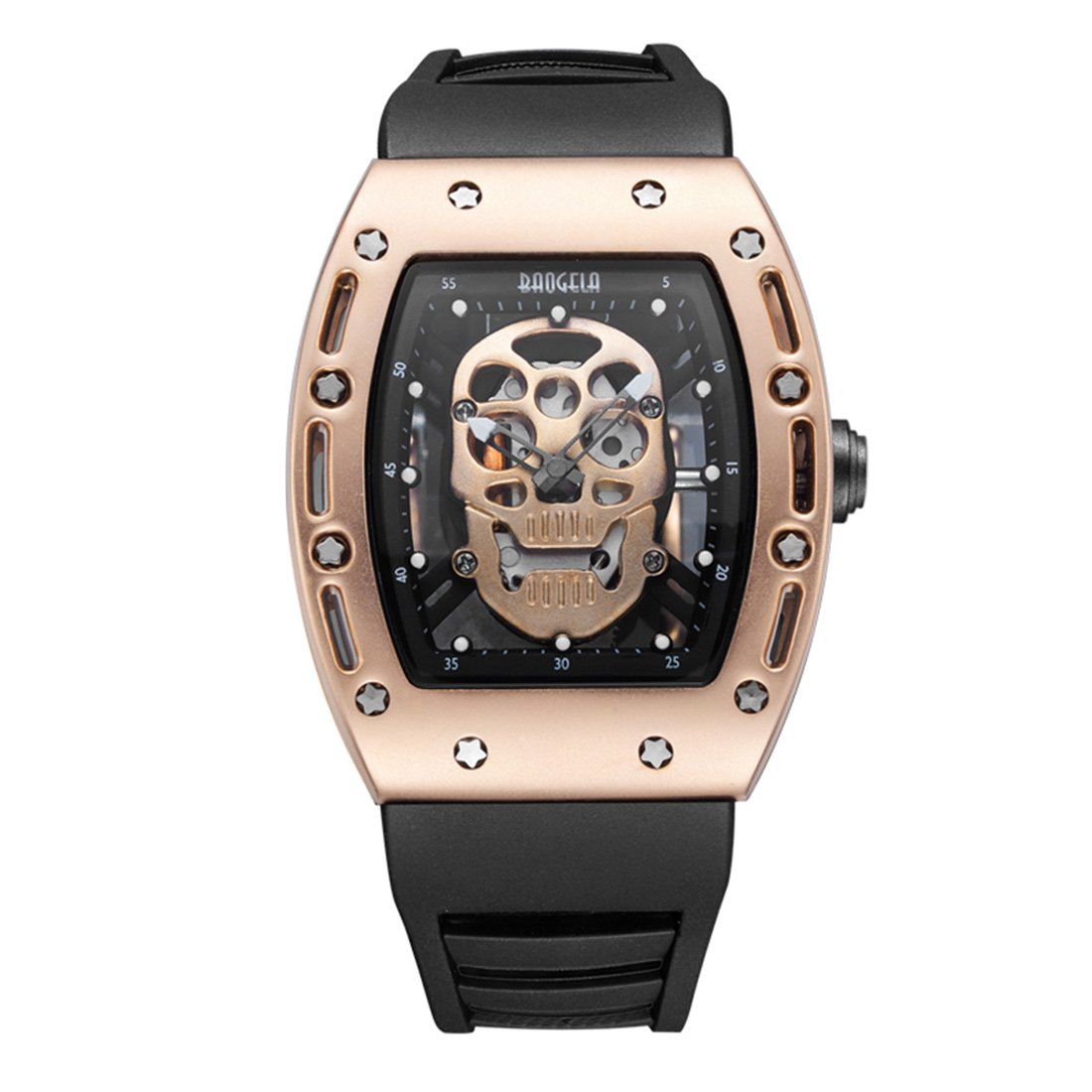 BOFUTE Men's Skeleon Luminous Dial Outdoor Sports Gifts Quartz Watch with Silicone Band(Black Rose Gold)
