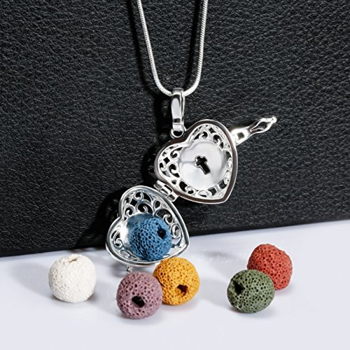 Sufiniya Heart Aromatherapy Essential Oil Diffuser Perfume Necklace Locket Pendant and 6 Colours Lava Stone Beads with Adjustable Snake Chain-Hollow Cross by Sufiniya (Image #2)