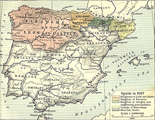 Home Comforts LAMINATED POSTER Map of Spain in 1037 POSTER PRINT 24 X 36 by Home Comforts