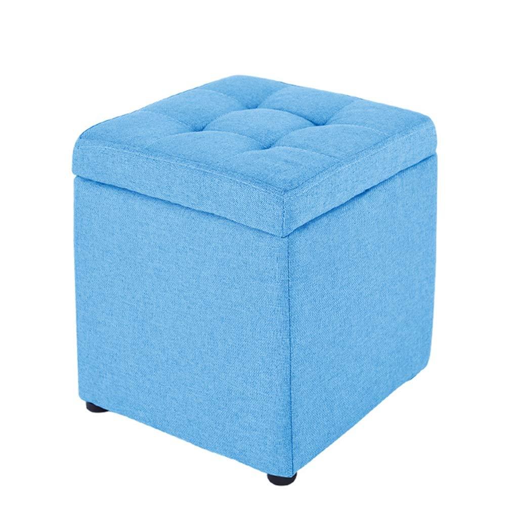 Petit pouf de rangement carré avec couvercle à charnière Tabouret décoratif en forme de cube (Couleur : Green) None