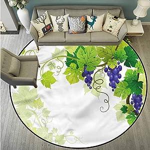 "Area Round Rugs,Vine,Grapes with Fresh Foliage,Anti-Slip Doormat Footpad Machine Washable,4'3"""
