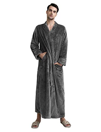search for original arrives sale Men's Zip Front Bathrobe Premium Flannel Fleece Plush Caftan Soft Long Robe  Warm Housecoat, Grey-L