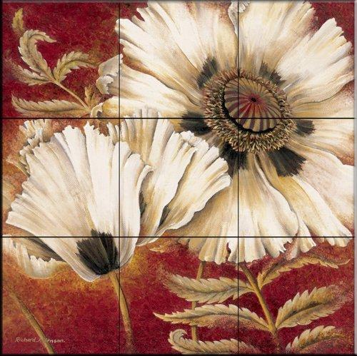 Ceramic Tile Mural - White Poppy - by Richard Henson - Kitchen backsplash/Bathroom shower