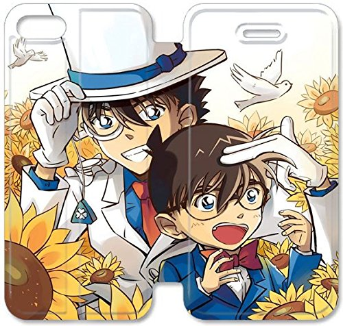 Coque iPhone 5C Coque Cuir, Klreng Walatina® 5C PU Cuir de portefeuille Coque Design By Detective Conan tournesol Industrie incendie T3G6Fb