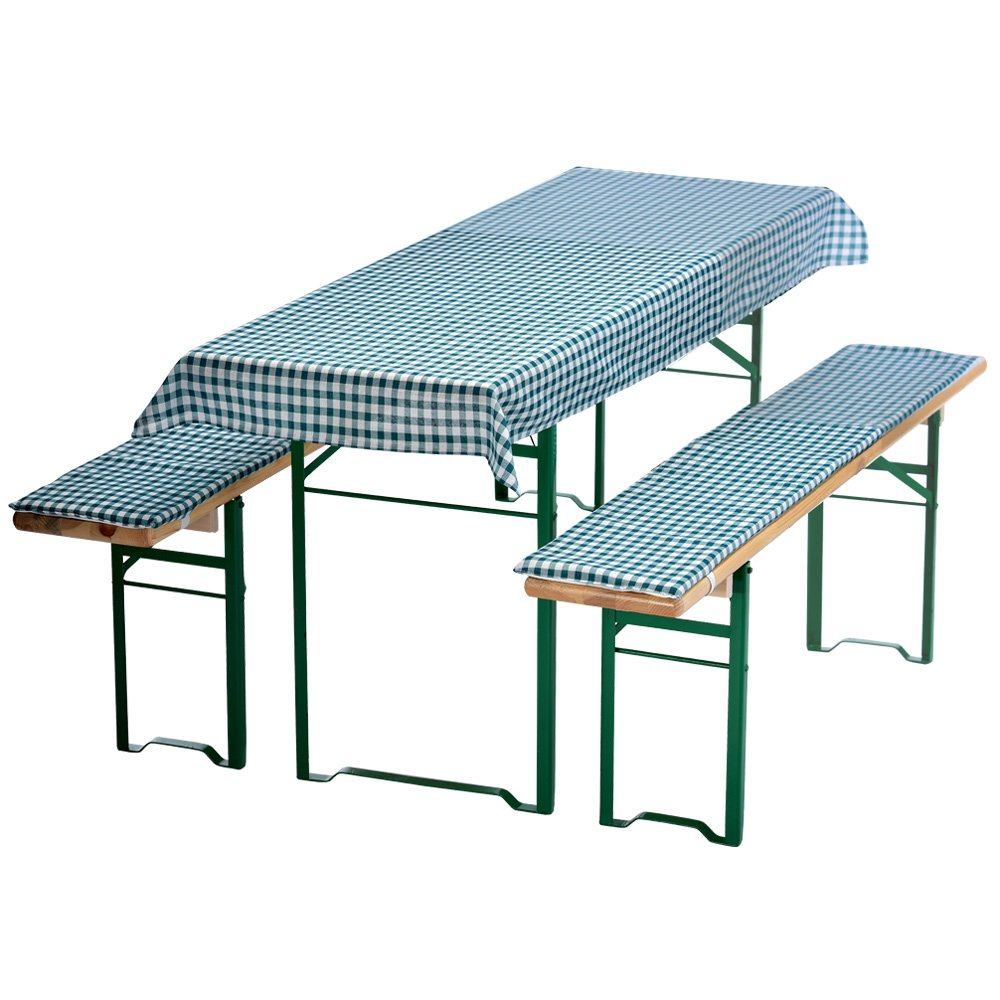 PROHEIM Auflagen-Set für Mini Bierzeltgarnitur Kariert 3-teilig Tischdecke 130 x 70 cm für 110 x 50 cm Biertische und 2 gepolsterte Bankauflagen 110 x 25 cm, Farbe:Grün