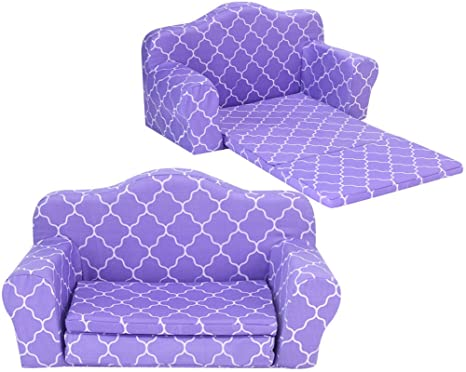 Sophiau0027s Doll Furniture Pull Out Sofa Bed Purple Plush Couch For Dolls  Converts To Double Bed