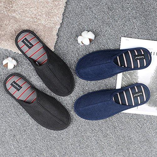 KushyShoo Memory Slippers Men TPR Cotton Foam Sole Breathable with Navy House Slipper stripe Upper rarBwU
