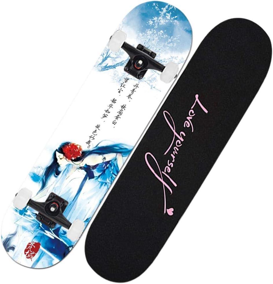 スケートボードデッキ、大人キッズスケートボード、ABEC-9ベアリング7層92Aハードメープルデッキとの完全なボード、31x7.5lnchロード、初心者や専門家のための200キロ F
