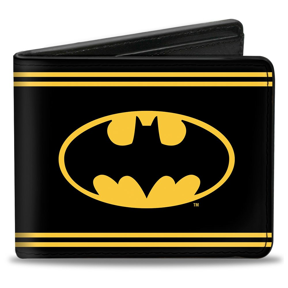 Buckle-Down PU Bifold Wallet - Batman Shield/Double-Stripe Black/Yellow PUW-BMBY