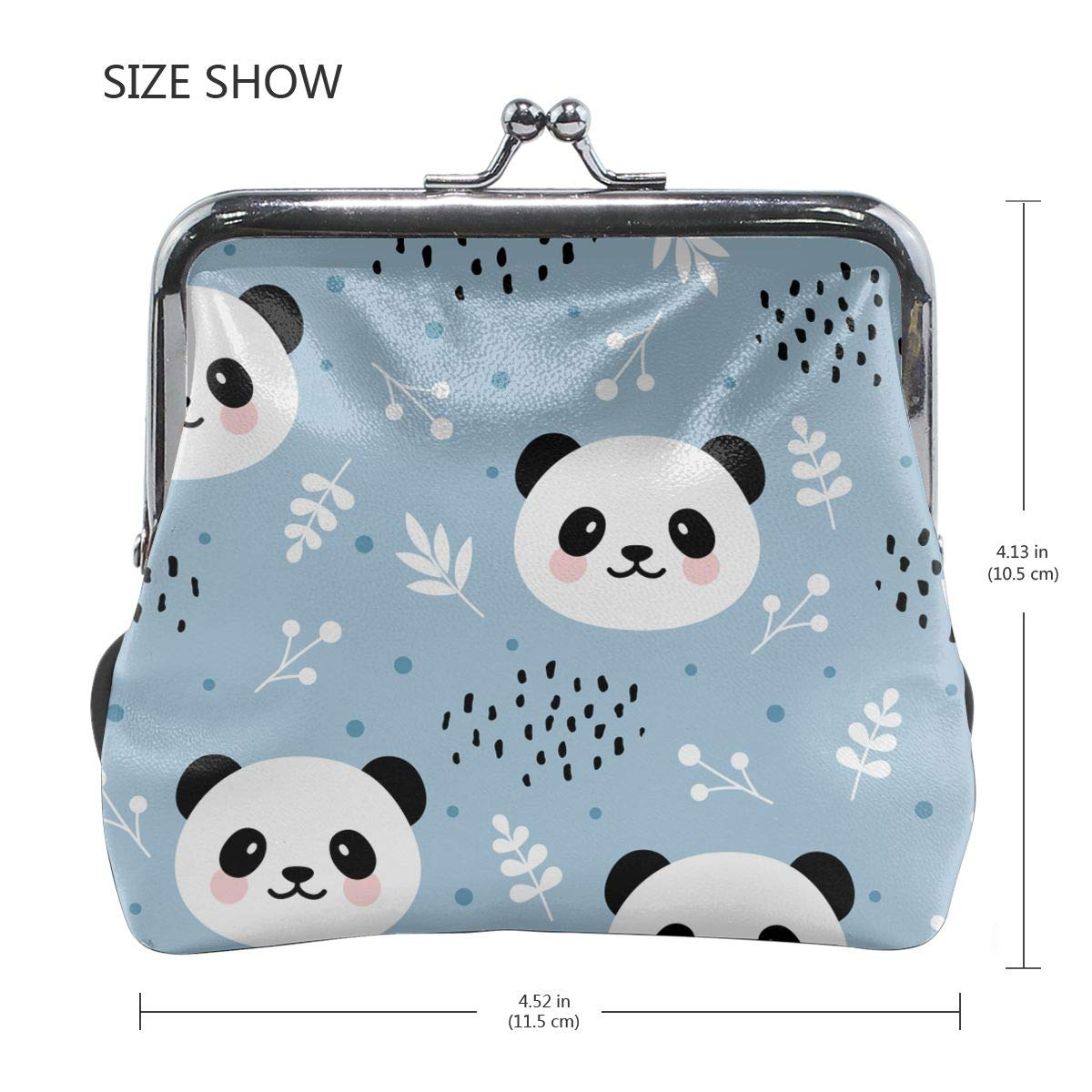 Cute Panda With Flowers And Dots Women Girl Canvas Floral Coin Purse Clutch Pouch Wallet