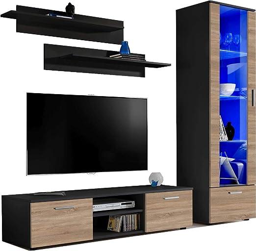 ExtremeFurniture Manhattan Mueble para TV, Carcasa en Blanco Mate/Frente en Roble Sonoma Mate + LED Blanco: Amazon.es: Hogar