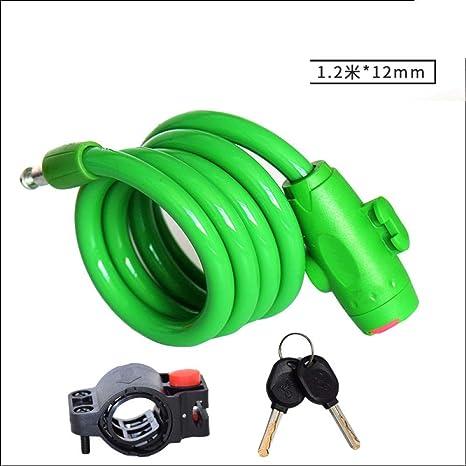 HMGHBMG - Candado de Cable para Bicicleta (1,2 m), Color Verde ...