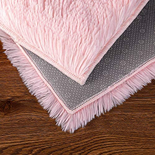 Ophanie Machine Washable Fluffy Area Rugs for Living Room, Ultra-Luxurious Soft and Thick Faux Fur Shag Rug Non-Slip Carpet for Bedroom, Kids Baby Room, Nursery Modern Decor Rug, 4x5.3 Feet Pink