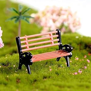 N/ hfjeigbeujfg Miniature Fairy Garden Creative Mini Park Bench Model Miniature Landscape Garden Decorative Ornament - M