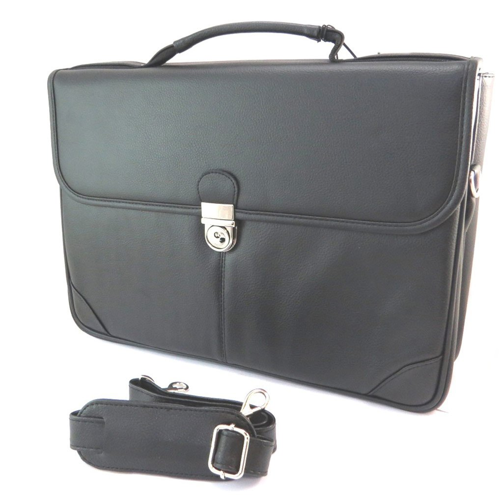 2 bellows Davidts . - Briefcase Lafayette black 15.94x11.02x3.54 P3098 - 40.5x28x9 cm