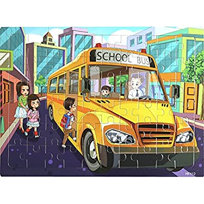 Layhome Puzzles 60 Pieces Durable Wooden Puzzle Children Fairy Story Animals Transportation Jigsaw (School Bus) : Baby